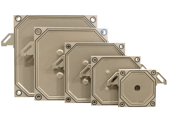 There are five pieces of chamber filter plates with different sizes, and all of them are installed with seal rings.