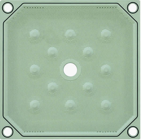 Membrane filter plate with gaskets at the four corners