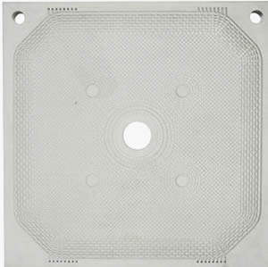 Welded membrane filter plate has central feed eye, two drain holes at the top